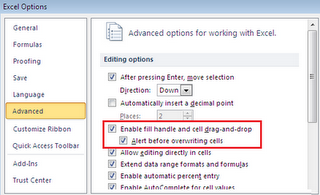 Excel 2010 Cell Fill & drag-drop problem